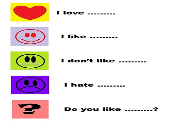 expressing likes and dislikes Expressing likes and dislikes to talk about your likes and dislikes, you can use these expressions expressing likes: i like i love i adore.