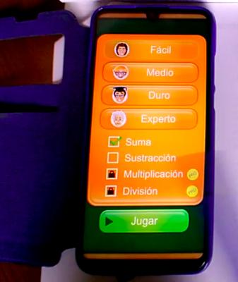 Imagen de un celular con la aplicación Math Duel activada.